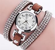 cheap -Women's Quartz Simulated Diamond Watch Wrist Watch Bracelet Watch Colorful Imitation Diamond Punk PU Band Charm Sparkle Vintage Candy