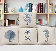 cheap -4 pcs Linen Pillow Case, Graphic Prints Accent/Decorative