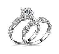 cheap -Women's Couple Rings Engagement Ring AAA Cubic Zirconia Silver Silver Plated Jewelry Love Wedding Party Engagement Gift Daily Casual