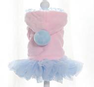 Собака Платья Одежда для собак Сохраняет тепло Сплошной цвет Синий Розовый