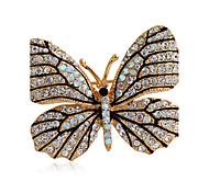 Недорогие -женская мода сплав / горный хрусталь броши шикарный булавка партия / ежедневно / вскользь форма бабочки ювелирных аксессуаров 1шт