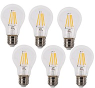 cheap -KWB 6pcs 4W 350-450 lm E26/E27 LED Filament Bulbs A60(A19) 4 leds COB Waterproof Decorative Warm White Cold White AC 220-240V