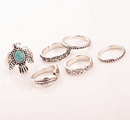 7 pcs/Set Vintage Style SIlver Turquoise Band Peace Dove Leaf Midi Ring Set