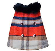 Hund Mäntel Jacke Hundekleidung warm halten Modisch Plaid/Karomuster Regenbogen