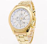 Men's Gold Watch of BlueBlackWhite Dial Full Stainless Steel Band Watch Men Quartz Watch of Calendar Business Watch