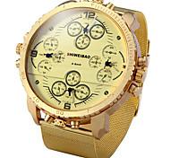 Men's Sport Watch / Military Watch / Dress Watch / Fashion Watch Quartz Dual Time Zones / Punk Stainless Steel BandVintage / Cool /
