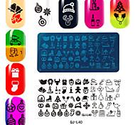 série natal rectangular modelo de placa de impressão manicure