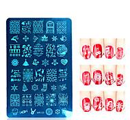 Недорогие -г-н рождественские серии ногтей штамп штамповка из нержавеющей стали формы лак для ногтей печати инструменты шаблон трафарет ногтей