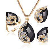 Women's Crystal Synthetic Diamond Synthetic Sapphire Synthetic Emerald Crystal Rhinestone Gold Plated Alloy 1 Necklace 1 Pair of Earrings