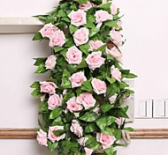 cheap -1 Branch Silk Plastic Roses Wall Flower Artificial Flowers