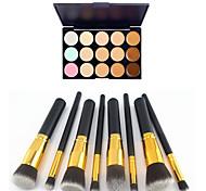 Недорогие -8шт золотой черной ручкой косметический набор кисти макияж&15 цветов маскирующее естественно (2 цвета маскирующее выбрать)