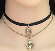Women's Choker Necklaces Pendant Necklaces Collar Necklace Geometric Triangle Shape Fabric Alloy Tattoo Style Elegant Double-layer