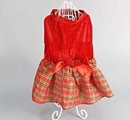 Собака Платья Одежда для собак Милые Мода Сохраняет тепло Рождество В клетку Красный