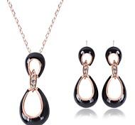 preiswerte -Damen Strass Schmuck-Set 1 Paar Ohrringe / Halsketten - Schwarz Schmuckset Für Hochzeit / Party