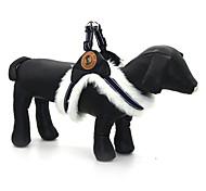 Dog Harness Adjustable / Retractable Reflective Solid PU Leather Fabric White Black Khaki