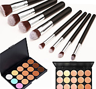 8PCS Silver Black Handle Cosmetic Makeup Brush Set&15 Colors Natural Concealer(2 Color Concealer Choose)
