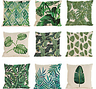 "Set of 9  Rainforest Leaves Africa Linen Tropical Plants Hibiscus Flower Pillow Case (18""*18"")"