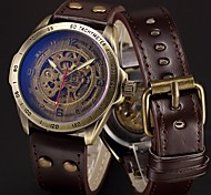 Men's Sport Watch Military Watch Skeleton Watch Wrist watch Mechanical Watch Punk Stainless Steel Genuine Leather Band Vintage Camouflage