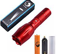 Светодиодные фонари Наборы фонариков LED 2000 Люмен 5 Режим Cree XM-L T6 баттаеря 1 x 18650 Фокусировка Компактный размер Масштабируемые