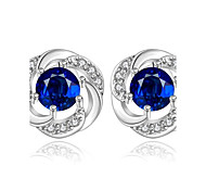Stud Earrings AAA Cubic Zirconia Zircon Cubic Zirconia Copper Silver Plated Fashion Blue Jewelry Daily Casual 1 pair