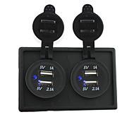 cheap -12V/24V 2PCS 3.1A USB power socket with housing holder panel for car boat truck RV