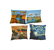Set of 4 Van Gogh painting pattern Linen Pillowcase Sofa Home Decor Cushion Cover