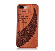 For Shockproof Embossed Pattern Case Back Cover Case Angel Wings Hard Rosewood and PC Combination for Apple iPhone 7 7 Plus 6s 6 Plus SE 5s 5