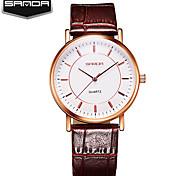 Sanda Crystal Glass Lovers Watches Women Quartz Watch Waterproof Leather Watchband Business Women Slim Watches relogio masculino
