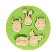 5 cartes de dessin animé animées décoration en silicone moule diy cuisine fondant moules à mouler outils de gâteau couleur aléatoire
