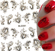 1pcs New Sweet Nail Art Sticker Beautiful Black Flower Vine Design Nail Water Transfer Decals Nail Beauty Tip BLE891