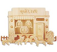 Jigsaw Puzzles DIY KIT Building Blocks 3D Puzzles Educational Wooden Pet Shop Building Blocks DIY Toys Furniture 1 Wood