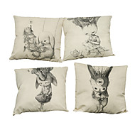 Set of 4 Simple retro abstract pattern Linen Pillowcase Sofa Home Decor Cushion Cover