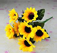 6 голов / филиал деревенский стиль шелковая ткань моделирования подсолнухи желтый