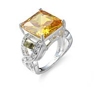 baratos -Anel Anel de noivado Zircônia cúbica Elegant Jóias de Luxo Zircão Zircônia Cubica Aço imitação de diamante Quadrado Champanhe Jóias Para