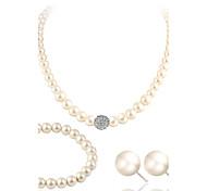 preiswerte -Strass Perle Künstliche Perle Strass Diamantimitate Schmuck-Set 1 Halskette 1 Paar Ohrringe 1 Armreif - Luxus Schmuckset Für Hochzeit