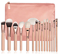 15pcs Pink Makeup Brush Set Contour Brush Blush Brush Eyeshadow Brush Brow Brush Eyeliner Brush Concealer Brush Fan Brush Powder Brush Foundation
