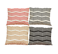 Set of 4 Geometric lines  pattern Linen Pillowcase Sofa Home Decor Cushion Cover