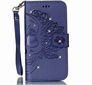 For Samsung S7 S7 Edge Card Holder Wallet Rhinestone Flip Embossed Case Skull Hard PU Leather for Samsung S6 S6 Edge S5 S5 mini and So on