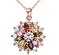 cheap -Women's AAA Cubic Zirconia Pendant Necklace / Chain Necklace / Pendant  -  Zircon, Rhinestone, Rose Gold Plated Friends, Flower, Love Personalized, Unique Design, Dangling Style Rose Gold Necklace For