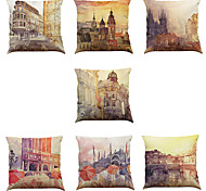 cheap -Set of 7 European architectural oil painting pattern Linen  Cushion Cover Home Office Sofa Square  Pillow Case Decorative Cushion Covers Pillowcases