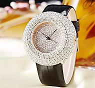 Mujer Reloj de Moda Reloj de Cristal Pavé Cuarzo Cuero Auténtico Banda Casual Negro Blanco Rojo Marrón Rose