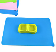 Rectangular paw print silicone mat Small pets rice bowl Dogs and cats eating utensils Dog Food Bowl Anti spill