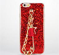 For DIY Red Rope Tassel Bracelet Case Back Cover Case Glitter Shine Soft TPU for Apple iPhone 7 7 Plus 6s 6 Plus