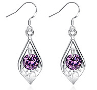 Women's Girls' Dangle Earrings Crystal Fashion Silver Plated Teardrop Jewelry For Wedding Party Daily Casual