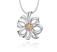 Feminino Colares com Pendentes Cristal Formato de Flor Prata de Lei Cristal Imitações de Diamante Original Com Logotipo Floral Pingente