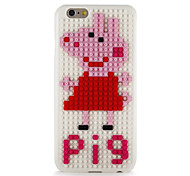 For DIY Block Building Case Pig Pattern Back Cover Case Hard PC for Apple iPhone 7 7 Plus 6s 6 Plus