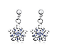 cheap -Women's Girls' Drop Earrings Crystal Floral Flower Style Dangling Style Flowers Silver Plated Bowknot Flower Teardrop Jewelry Wedding