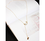 Star Moon Necklace Non Stone Pendant Necklaces Jewelry Engagement Daily Casual Christmas Gifts StarDangling Style Animal Design Tassel Multi-ways