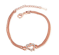 cheap -Women's Chain Bracelet Crystal Friendship Vintage Fashion Rose Gold Plated Heart Jewelry For Wedding Party Special Occasion Anniversary