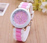 Women's Sport Watch Dress Watch Fashion Watch Wrist watch Large Dial Quartz Silicone Band Charm Multi-Colored